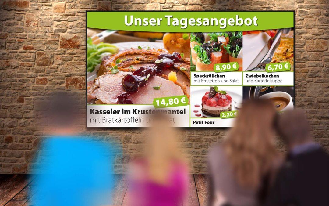 Speiselokal mit Angeboten auf einem Digital Signage-Bildschirm