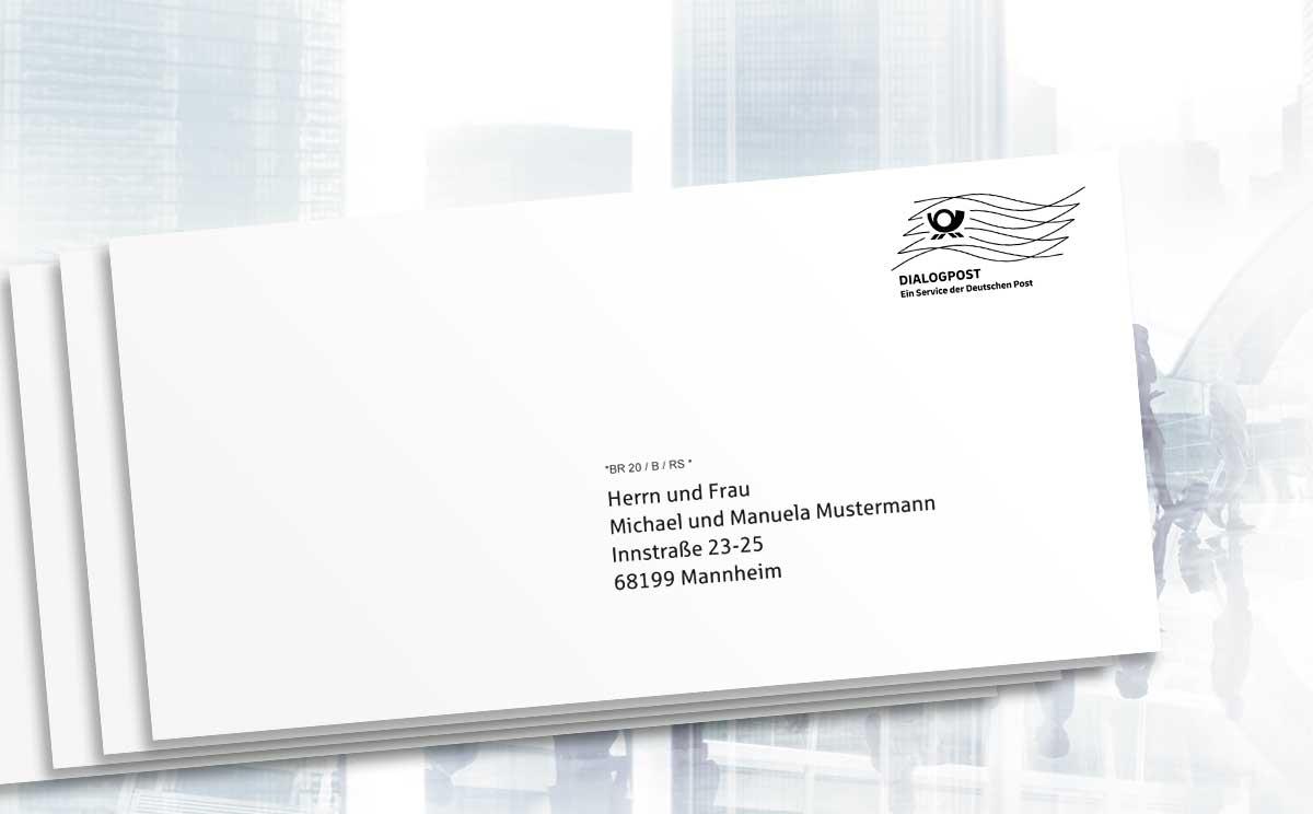 Das Dialogpost-Logo in normaler Größe mit Frankierwelle